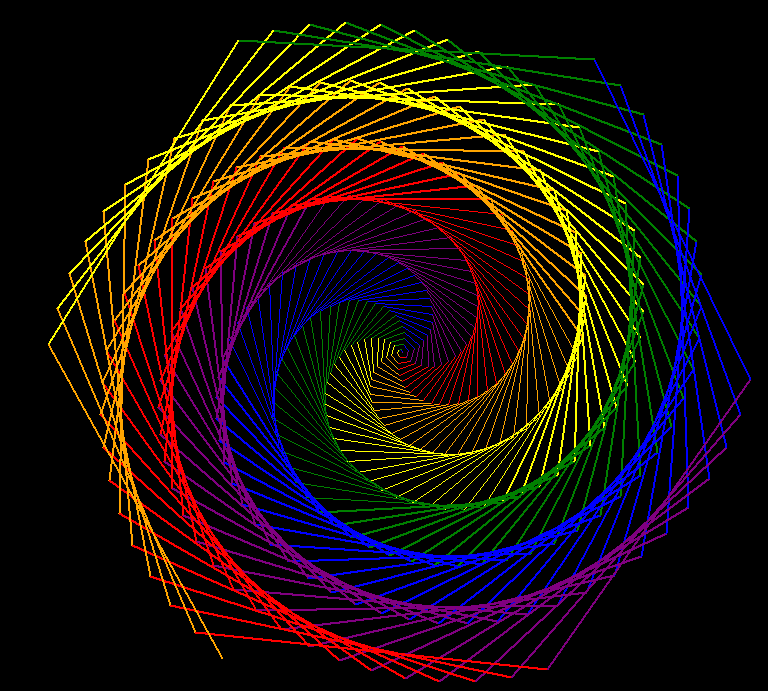 Python-created image of hexagonal rainbow sprial